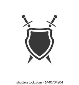 shield icon template black color editable. sword conception with shield symbol vector sign isolated on white background. Simple logo vector illustration for graphic and web design.