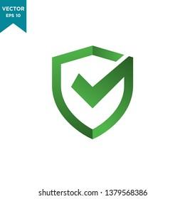 shield icon vector logo template, shield icon with check mark icon conception