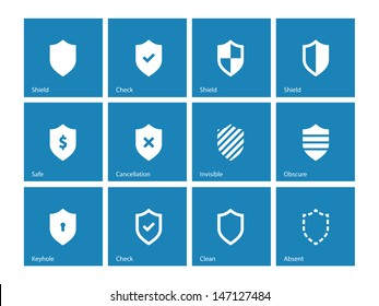 Shield icons on blue background. Vector illustration.