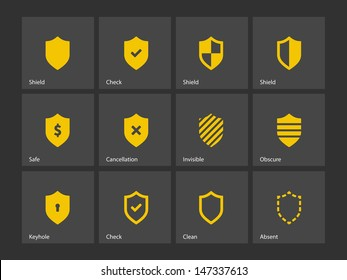 Shield icons on gray background. Vector illustration.