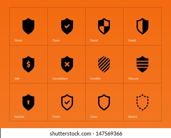 Shield icons on orange background. Vector illustration.