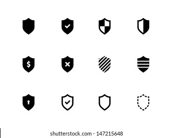 Shield icons on white background. Vector illustration.