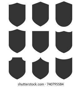 Shield icons set. Vector illustration.