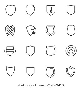 Shield icons set. Vector linear icon.  Line with Editable stroke