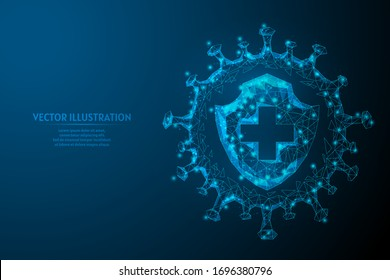Shield and infection. Protection against the virus, the fight against coronavirus COVID-19. Vaccines, antibiotics, medicine, medical innovative technology. 3d low poly isolated vector illustration.