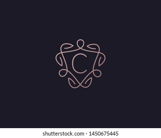 Shield letter C vector symbol logo. Line  monogram icon logotype