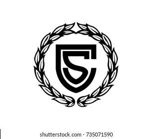 Shield Letter CS with Circle Leafs Clip-art Icon Symbol Logo