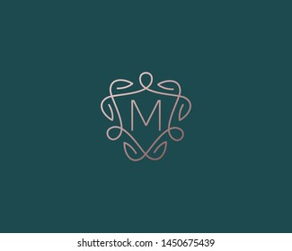 Shield letter M vector symbol logo. Line  monogram icon logotype