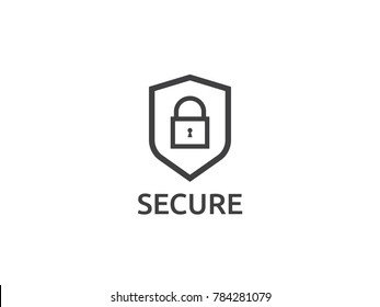 shield line icon, Privacy Data protection and Internet VPN Security Concept vector illustration