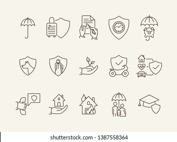 Shield line icon set. Security, accident, damage. Protection concept. Can be used for topics like safeguard, insurance, property