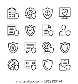 Shield line icons set. Modern graphic design concepts, simple outline elements collection. Vector line icons