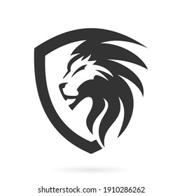 shield lion abstract logo icon