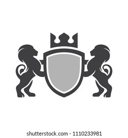 Shield and lions with crown on white background in vector EPS8