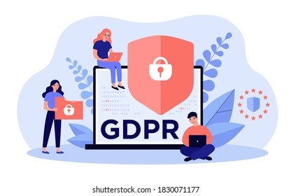 Shield with lock on computer display as symbol of general data protection regulation. People sure of their privacy while using gadgets. Vector illustration for GDPR, information protection concept