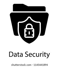 Shield with lock sign over folder showing data security icon