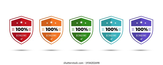 Shield Logo badge 100% genuine illustration template with stars. Get used to Security, Certified, Guarantee, Warranty, Assurance, etc. Vector illustration design template.