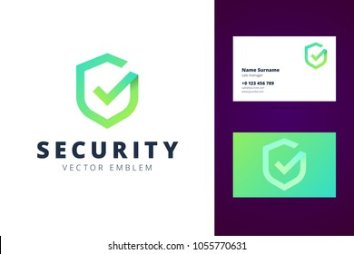 Shield logo and business card template in modern gradient line style. Vector illustration.