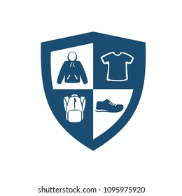 Shield logo combined with cloth, jacket, t shirt, backpack and shoes, suit for distribution store logo. Shield icon. Security logo
