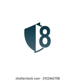 Shield logo icon with number 8 beside design vector illustration