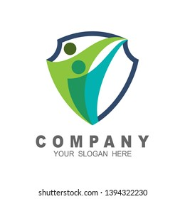 Shield logo  with people design illustration, shield icon,  family symbol, charity and social