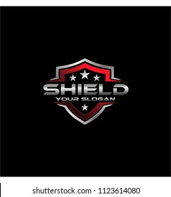 shield logo red vector icon