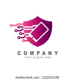 shield logo, security icon, shield and phone + Shield logo application in mobile phones