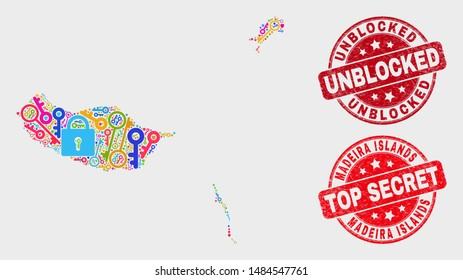 Shield Madeira Islands map and watermarks. Red round Top Secret and Unblocked scratched watermarks. Colorful Madeira Islands map mosaic of different passkey icons.