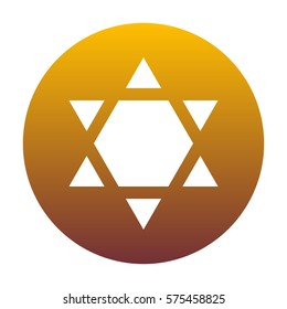 Shield Magen David Star Inverse. Symbol of Israel inverted. White icon in circle with golden gradient as background. Isolated.