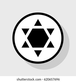 Shield Magen David Star Inverse. Symbol of Israel inverted. Vector. Flat black icon in white circle with shadow at gray background.