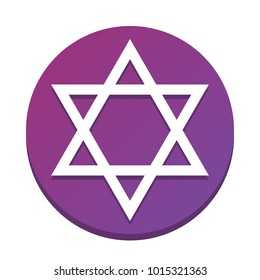 Shield Magen David Star. Symbol of Israel. Vector. White icon with flat shadow on purpureus circle at white background. Isolated.