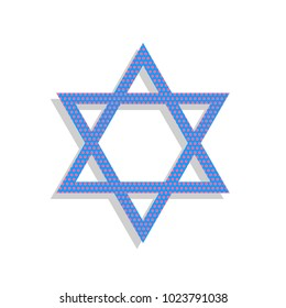 Shield Magen David Star. Symbol of Israel. Vector. Neon blue icon with cyclamen polka dots pattern with light gray shadow on white background. Isolated.