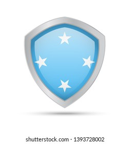 Shield with Micronesia flag on white background. Vector illustration.