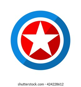 Shield with National Colors of America, Vector Illustration on white background
