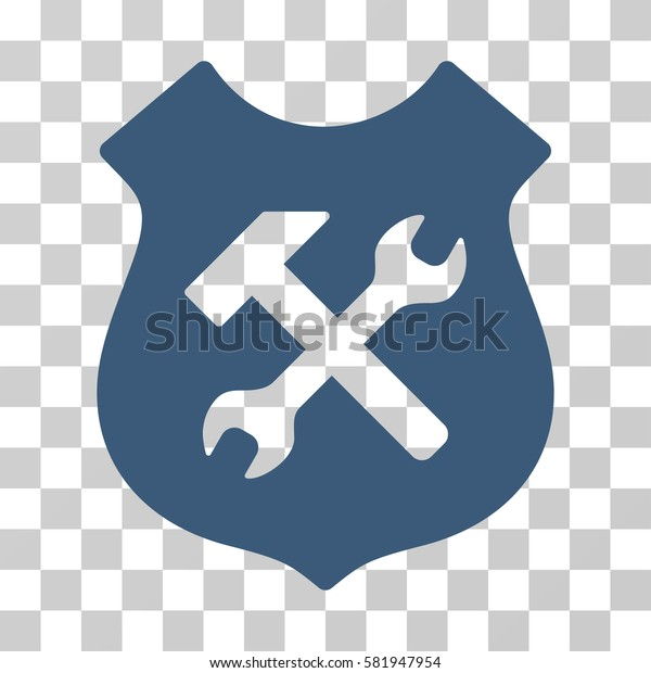 Shield Options vector icon. Illustration style is a flat iconic blue symbol on a transparent background.