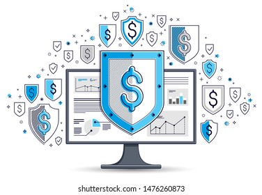 Shield over computer monitor and dollar set of icons, internet financial security concept, online finance protection, vector flat thin line design, elements can be used separately.