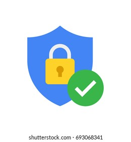 Shield with padlock and check mark. Modern flat vector icon