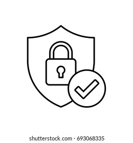 Shield with padlock and check mark vector icon