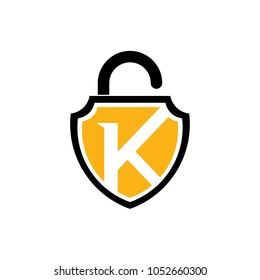 Shield Padlock Letter K Logo Template