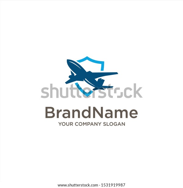 Shield Plane Logo Design Vector Stock Stock Vector Royalty Free 1531919987