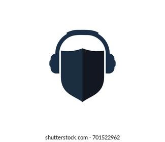 Shield Podcast Icon Logo Design Element