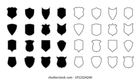 Shield police. Police badge and crest. Outline shape of shield for coat. Logo for arms, security, soccer and army. Emblem of football club. Icon with silhouette for heraldic military label. Vector.