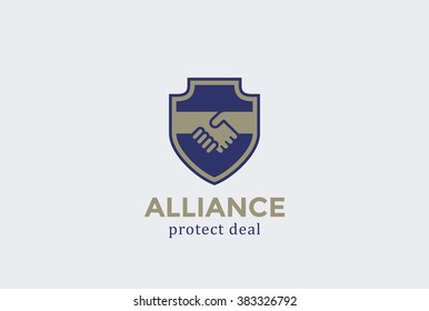 Shield Protect Deal Handshake Logo design vector template. Defend Contract symbol. Law, Lawyer, Alliance, Union Logotype concept icon.