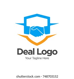 Shield Protect Deal Handshake Logo design vector template. Defend Contract symbol. Law, Lawyer, Alliance, Union Logotype concept icon. Vector Logo Design Template Design