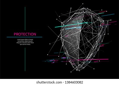 Shield. Protect or security low poly wireframe sign with glitch effect. Abstract vector illustration. Safe concept. Digital 3d modern image or background. Polygonal knight sign