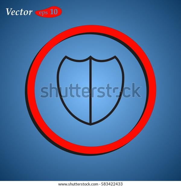 Shield protection icon. Web design style.