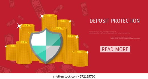 Shield protection illustration - Money savings - Deposit - Insurance