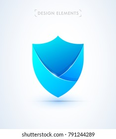 Shield protection illustration. Safety logo icon. Material design flat style. Anti virus