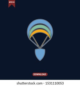 Shield protection and parachute illustration combine. Safety logo icon. Material design flat style. Anti virus