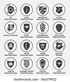 shield protection vector and icon . uv hair wrinkle scar shock proof flea dandruff dry skin gas face acne bullet virus finger print tooth eye