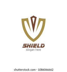 Shield protector logo icon design template. Abstract security company vector illustration